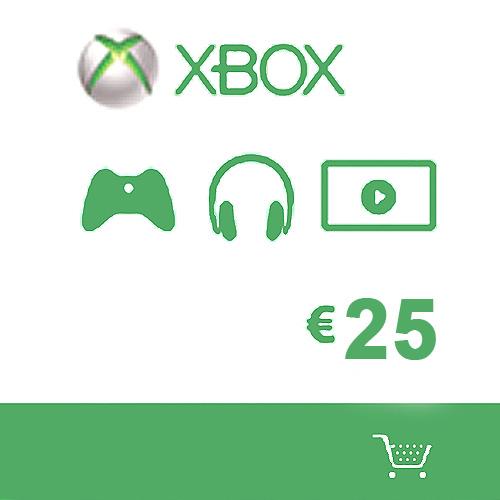 Carte 25 Euros cadeaux Xbox live de Microsoft