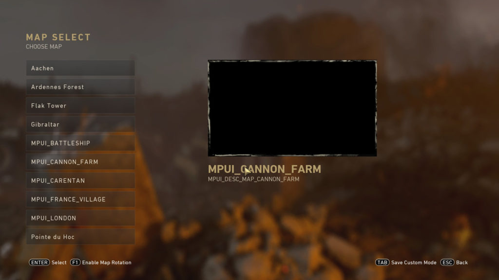 Call of Duty WW2 Alleged Map Select Menu