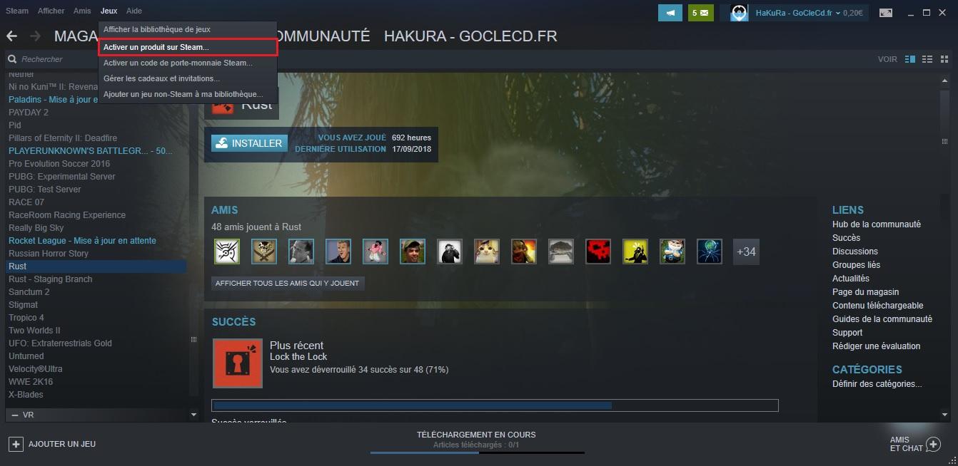 Activer jeu Steam
