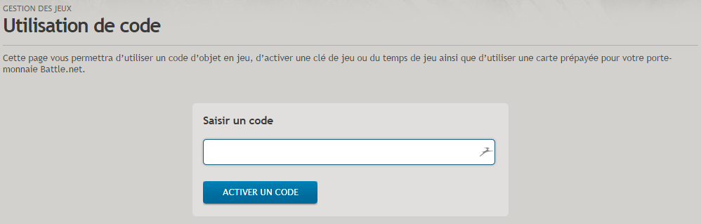 Activer une Clé cd Warlords of Draenor