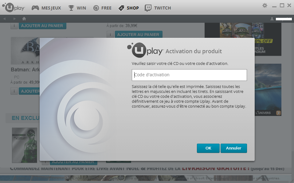 Activer une clé cd Uplay