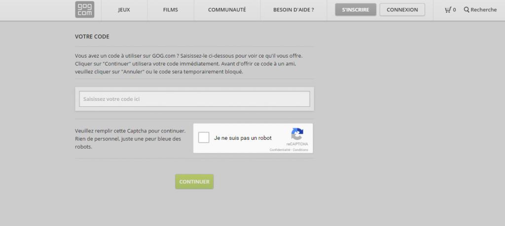 Activer votre clé sur le site GoG.com