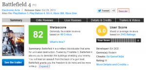 Battlefield 4 pour PC Avis - Metacritic