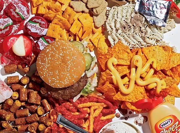 Burger, Cheetoes and other unhealthy snacks