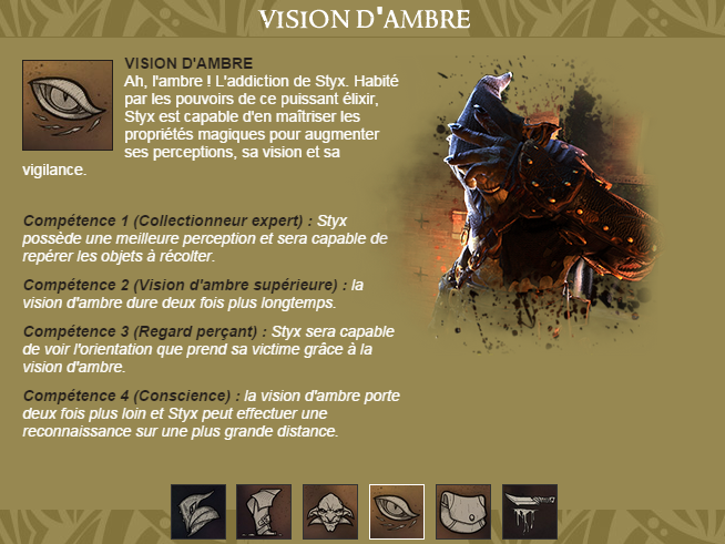 Capacités Styx Master of Shadows Vision d'ambre - Goclecd fr