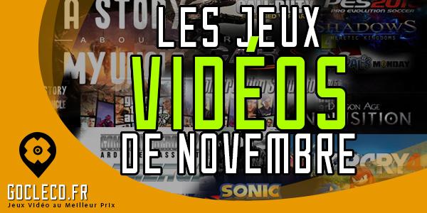 Les sorties de jeux vidéos de Novembre