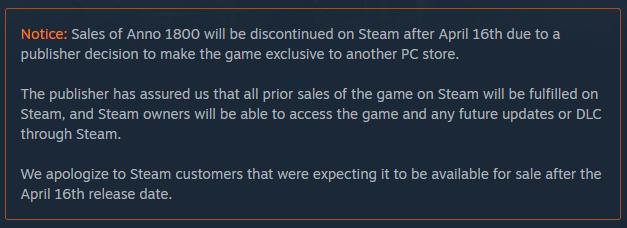Anno 1800 Steam Notice