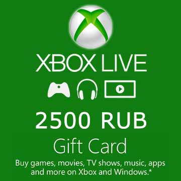 Acheter 2500 RUB Gift Card Xbox Live Code Comparateur Prix