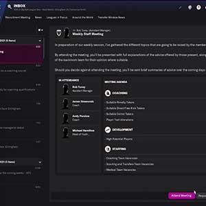 Football Manager 2022 Réunion Hebdomadaire Du Personnel