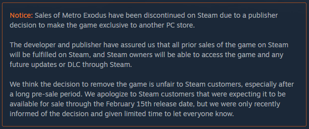 Metro Exodus Steam Notice
