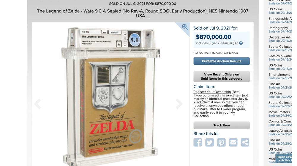 legend of zelda record price